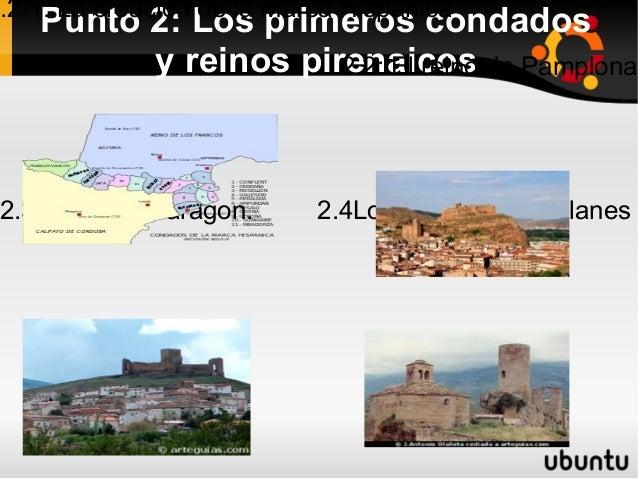 .2.1: La creación de la Marca Hispánica   Punto 2: Los primeros condados         y reinos pirenaicos de Pamplona          ...