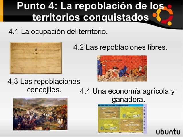 Punto 4: La repoblación de los    territorios conquistados4.1 La ocupación del territorio.                    4.2 Las repo...