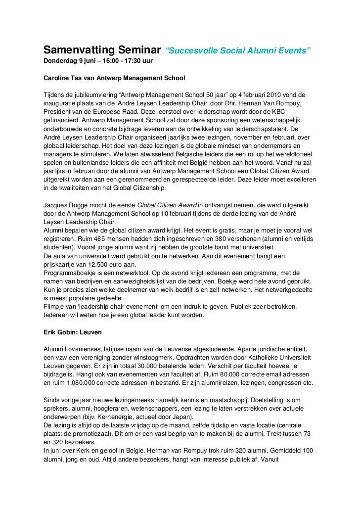 "Samenvatting Seminar ""Succesvolle Social Alumni Events""Donderdag 9 juni – 16:00 - 17:30 uurCaroline Tas van Antwerp Manage..."