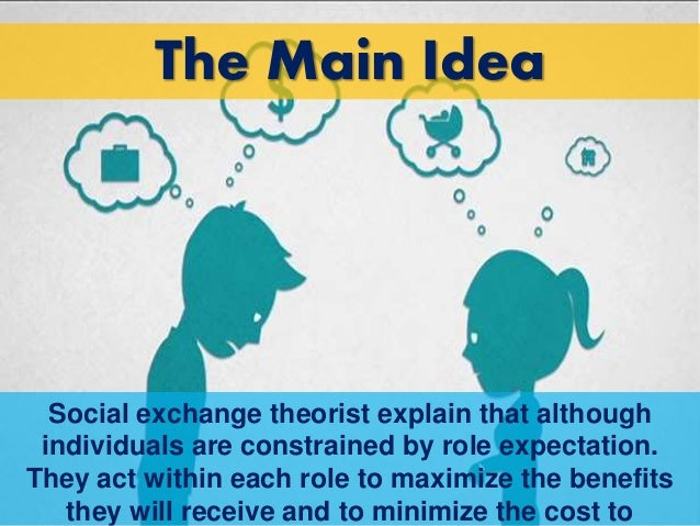 social exchange theory In social psychology and sociology, the idea that social change and stability represent a process of cost-benefit analyses between parties social exchange theory is.