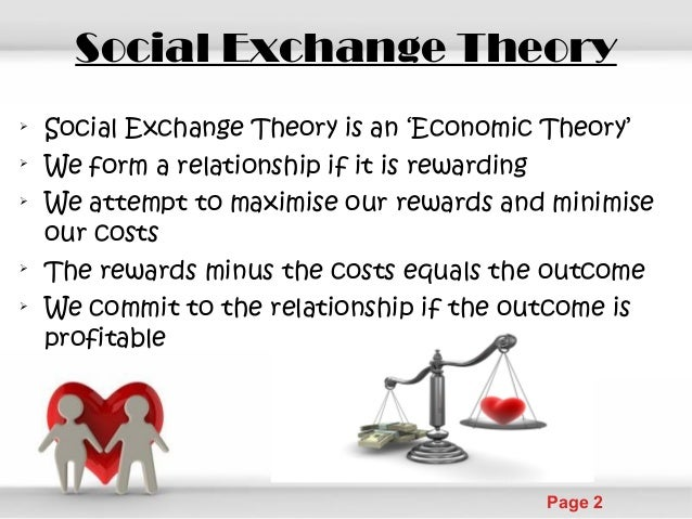 social exchange theory Social exchange theory dr simon moss overview social exchange theory was promulgated by scholars like emerson (1976& see also ekeh, 1974) in the 1970s.