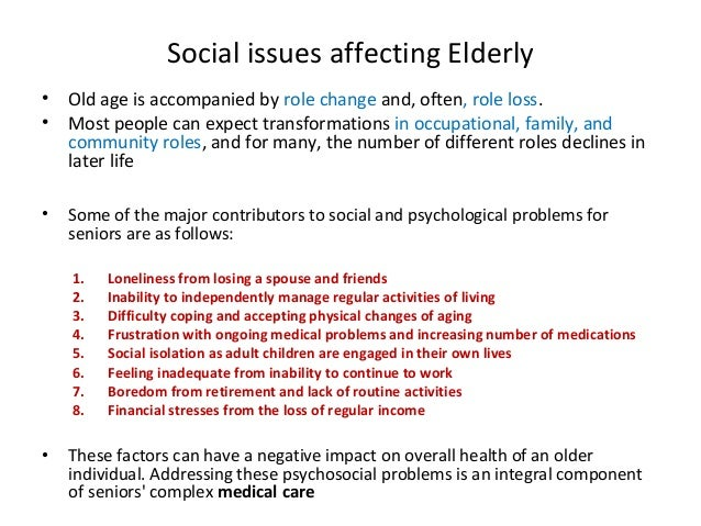 Issues for Elderly Persons Living with HIV/AIDS