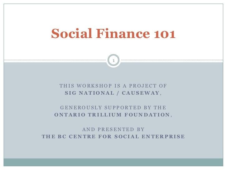 Social finance 101