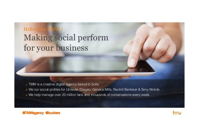 Making social performfor your businessHello from TMW /! TMW is a creative digital agency based in Soho! We run social profi...