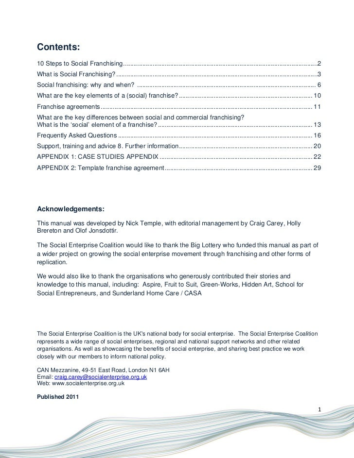 franchise manual template free - social franchising model 2011