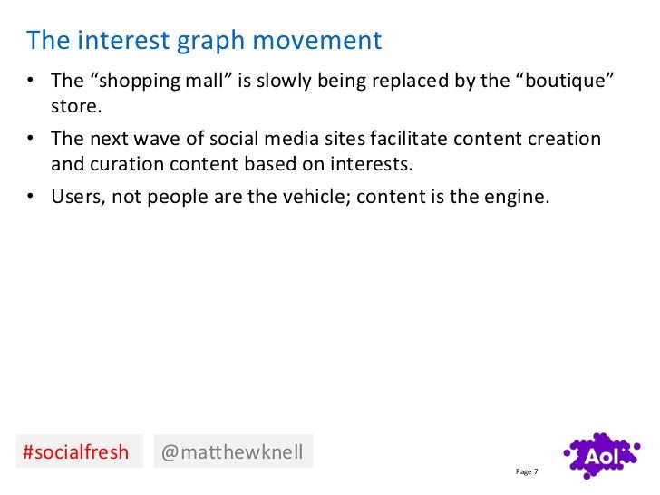 """The interest graph movement• The """"shopping mall"""" is slowly being replaced by the """"boutique""""  store.• The next wave of soci..."""