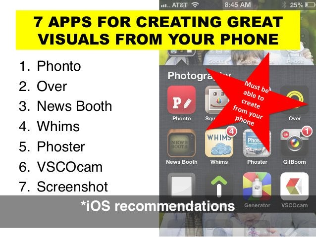 7 APPS FOR CREATING GREAT VISUALS FROM YOUR PHONE 1. Phonto ! 2. Over! 3. News Booth! 4. Whims! 5. Phoster! 6. VSCOc...