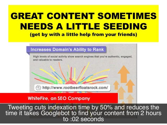 GREAT CONTENT SOMETIMES NEEDS A LITTLE SEEDING (get by with a little help from your friends) Tweeting cuts indexation time...
