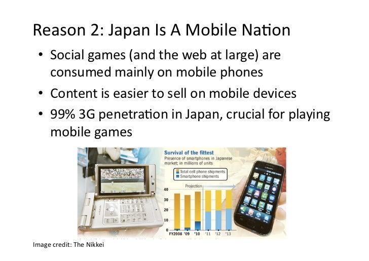 Reason2:JapanIsAMobileNaDon  • Socialgames(andthewebatlarge)are     consumedmainlyonmobilephones  • ...