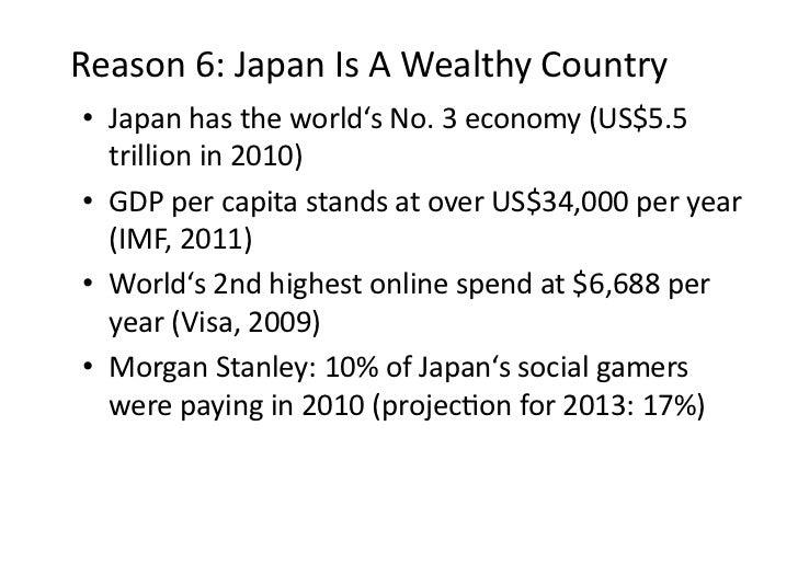 Reason6:JapanIsAWealthyCountry• Japanhastheworld'sNo.3economy(US$5.5   trillionin2010)• GDPpercapita...