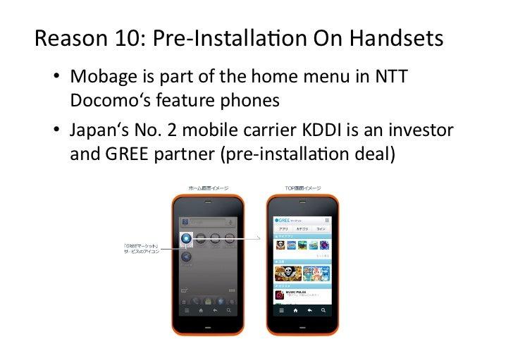 Reason10:Pre‐InstallaDonOnHandsets • MobageispartofthehomemenuinNTT    Docomo'sfeaturephones • Japan's...