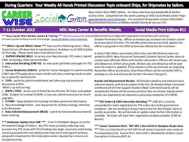 Navy Career Wise PRINT Edition. For those who have low bandwidth & limited access online. Compiled from this weeks posting...