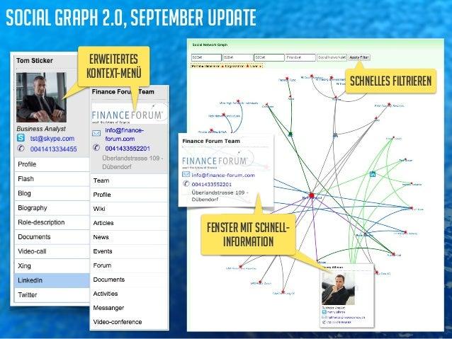 social graph 2.0, september update  enhanced  context-menu schnelles filtrieren  flying window  with quick info  fenster m...