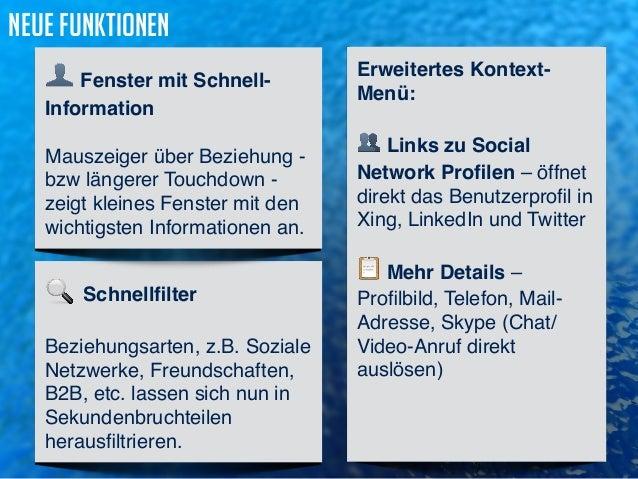 Erweitertes Kontext-  Menü:   Links zu Social  Network Profilen – öffnet  direkt das Benutzerprofil in  Xing, LinkedIn un...