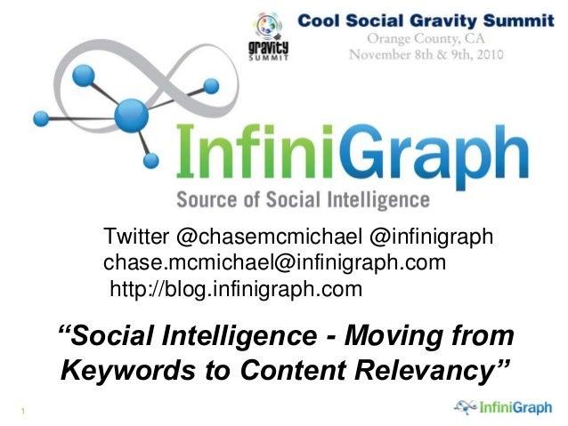 "1 Twitter @chasemcmichael @infinigraph chase.mcmichael@infinigraph.com http://blog.infinigraph.com. ""Social Intelligence -..."