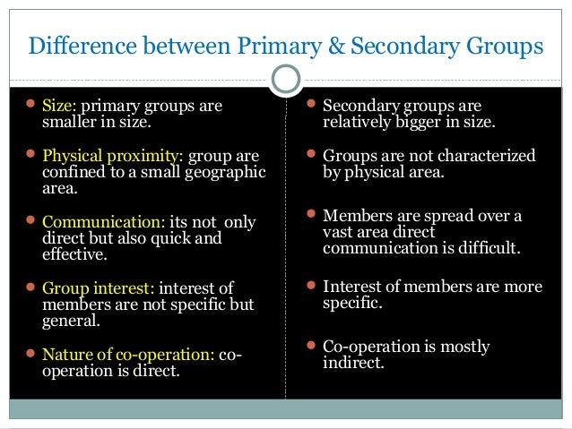 sociology assignment primary and secondary groups