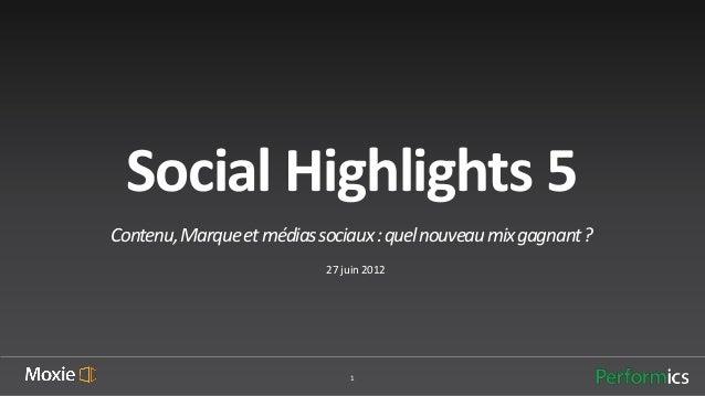 Social Highlights 5Contenu, Marque et médias sociaux : quel nouveau mix gagnant ?                           27 juin 2012  ...
