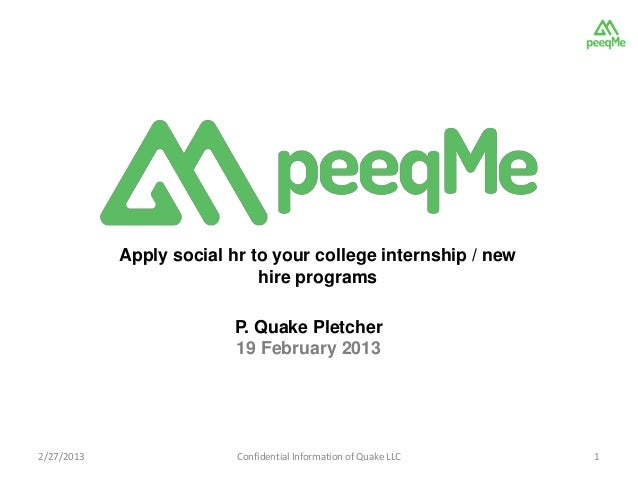 Apply social hr to your college internship / new                             hire programs                         P. Quak...