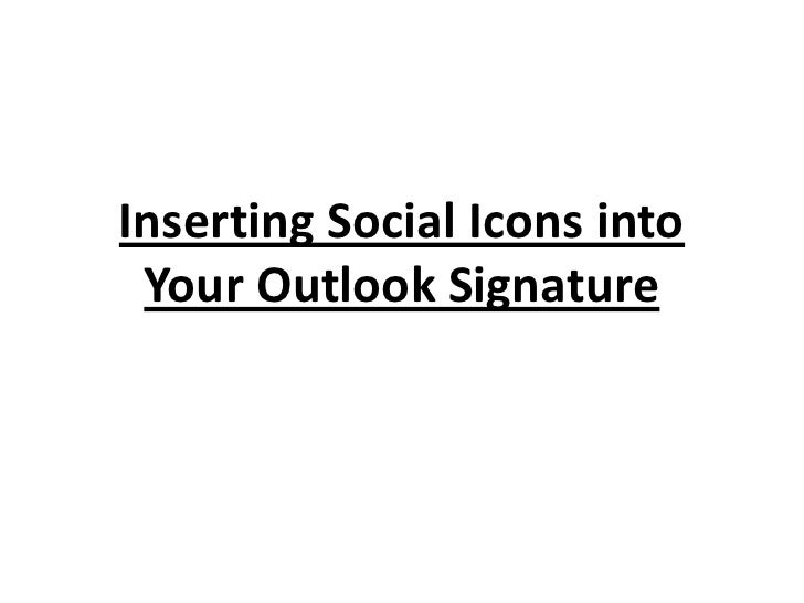 how to add social media icons to outlook signature