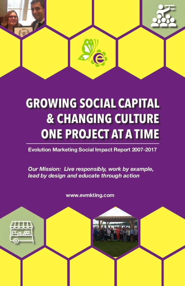 GROWING SOCIAL CAPITAL & CHANGING CULTURE ONE PROJECT AT A TIME Evolution Marketing Social Impact Report 2007-2017 www.evm...