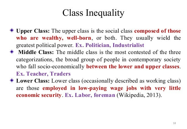 social class and inequality Online social class and inequality essay example free sample essay on social class and inequality buy custom essays, research papers, term papers on sociology topics at essaylibcom.