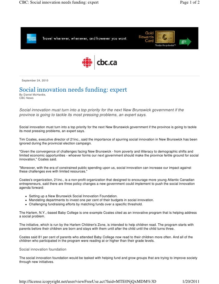 CBC: Social innovation needs funding: expert                                                                Page 1 of 2 Se...