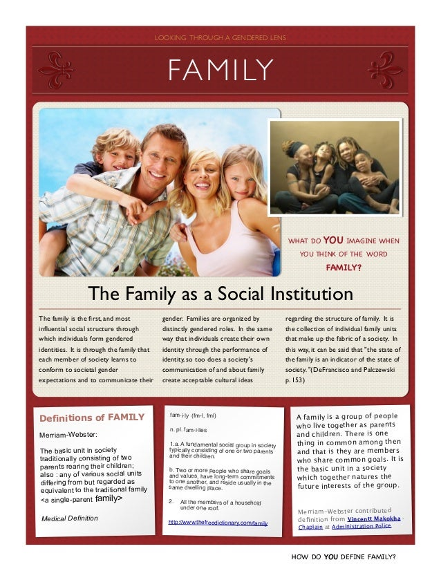 family as a social institution doc The extreme social transformations of this century have caused hardly any stir   and threatening it may have been to individual workers and their families   as a volunteer in a social- sector institution, the individual can again make a.