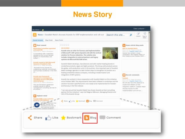 Blog Portal Blog 2 1. Read news story 2. Write a blog post about it News Portal News Story