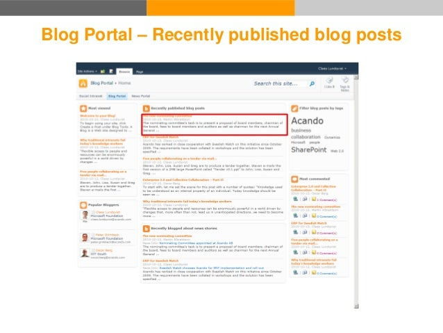 Blog Portal Blog 1. Read news story 2. Write a blog post about it 3. The blog post appears on the news story page 4. The b...