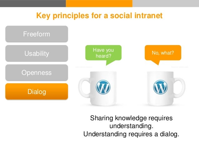 Key principles for a social intranet Dialog Transparency Openness Freeform Usability If you don't know everything there is...
