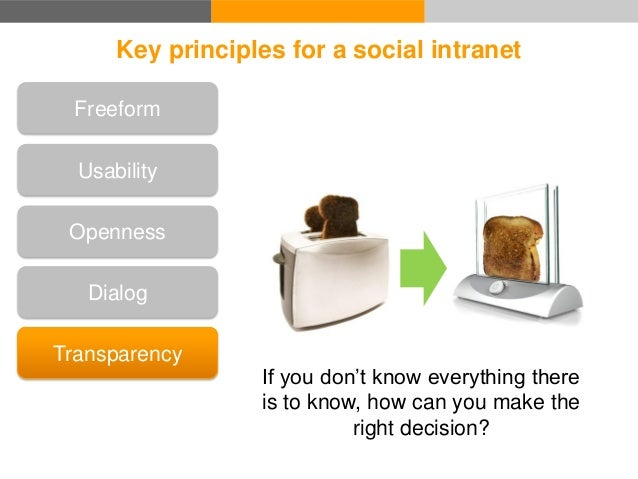 Key principles for a social intranet Transparency Recognition Good work! Dialog Openness Freeform Usability Recognition is...