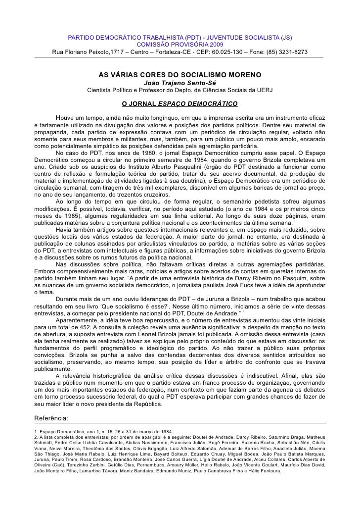 PARTIDO DEMOCRÁTICO TRABALHISTA (PDT) - JUVENTUDE SOCIALISTA (JS)                                      COMISSÃO PROVISÓRIA...