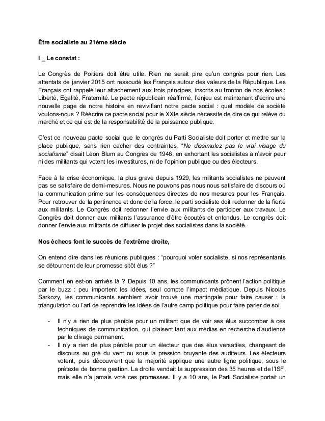 Êtresocialisteau21èmesiècle  I_Leconstat:  Le Congrès de Poitiers doit être utile. Rien ne serait pire qu'un c...