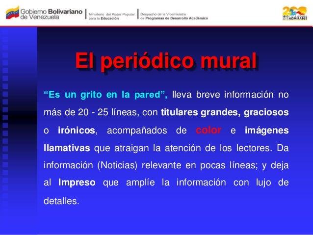 Socializacion periodico escolar for Componentes de un periodico mural