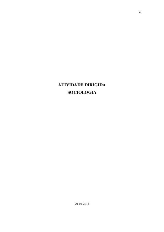 1 ATIVIDADE DIRIGIDA SOCIOLOGIA 20-10-2014