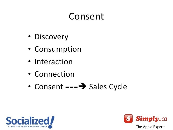 Consent<br />Discovery<br />Consumption<br />Interaction<br />Connection<br />Consent === Sales Cycle<br />