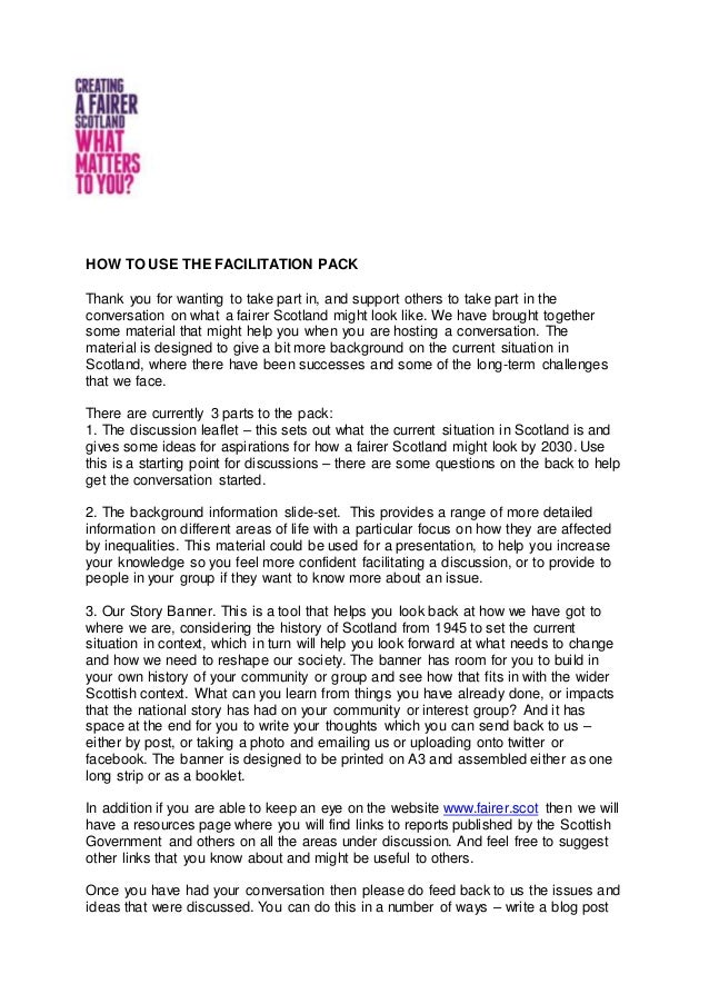HOW TO USE THE FACILITATION PACK Thank you for wanting to take part in, and support others to take part in the conversatio...