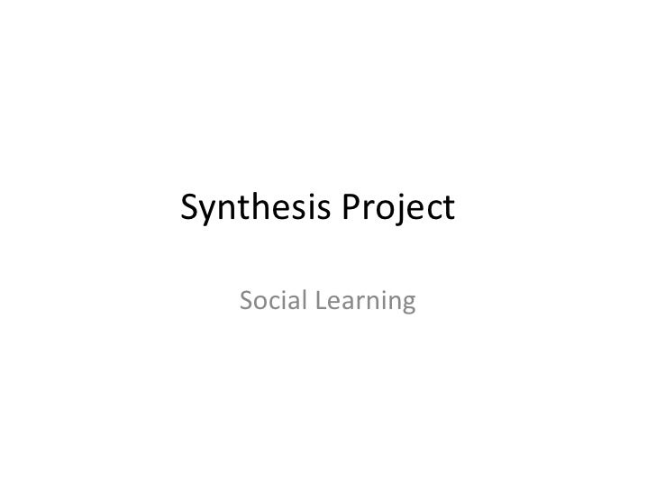 Synthesis Project   Social Learning