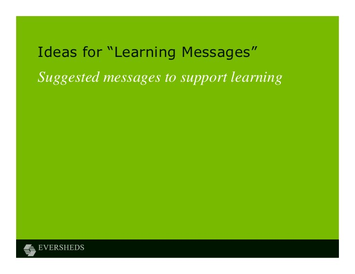 """Ideas for """"Learning Messages""""Suggested messages to support learning"""