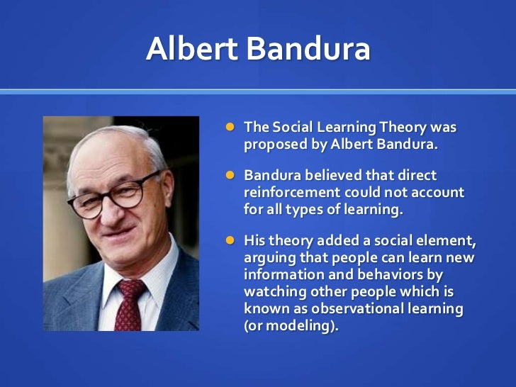 banduras social learning theory essay Bandura introduction social learning theory is an approach to child development which states that children develop through learning essay sample on bandura.