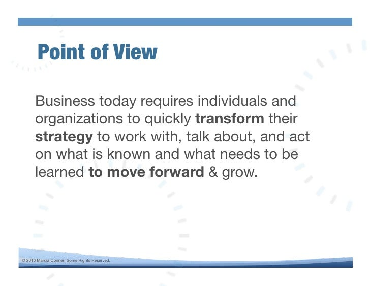 Point of View!        Business today requires individuals and       organizations to quickly transform their       strateg...
