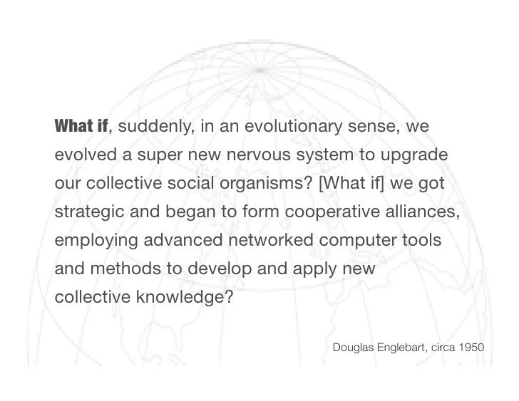 What if, suddenly, in an evolutionary sense, we evolved a super new nervous system to upgrade our collective social organi...