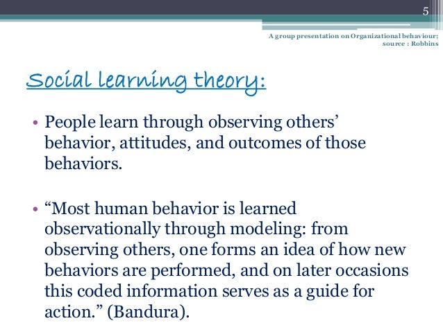 behaviour and social learning Bandura's social learning theory suggests that people can learn though observation, including direct instruction, modeling, and imitation.