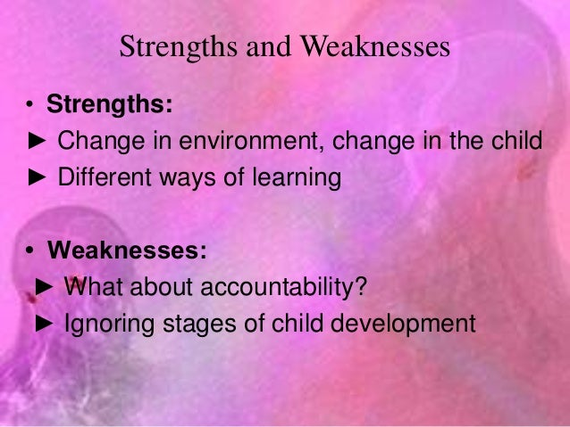 strengths and weaknesses of cognitive theory He developed his cognitive theory by actually observing children (some of whom   to assess the child's present cognitive level their strengths and weaknesses.