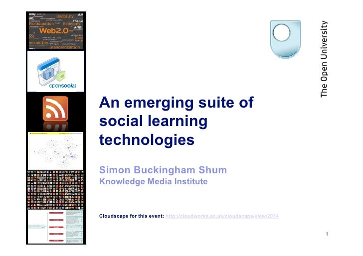 An emerging suite of social learning technologies Simon Buckingham Shum Knowledge Media Institute   Cloudscape for this ev...