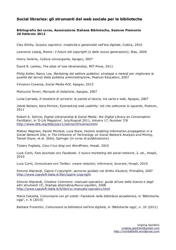Social libraries: gli strumenti del web sociale per le bibliotecheBibliografia del corso, Associazione Italiana Bibliotech...