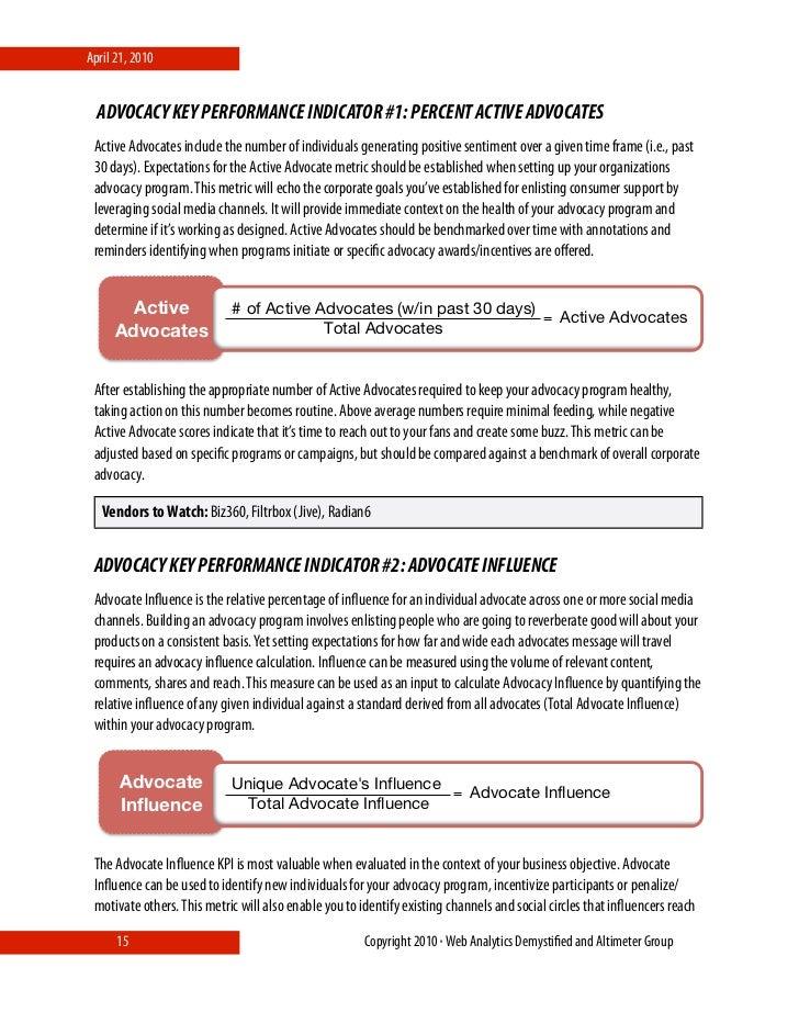 April 21, 2010     ADVOCACY KEY PERFORMANCE INDICATOR #1: PERCENT ACTIVE ADVOCATES  Active Advocates include the number of...