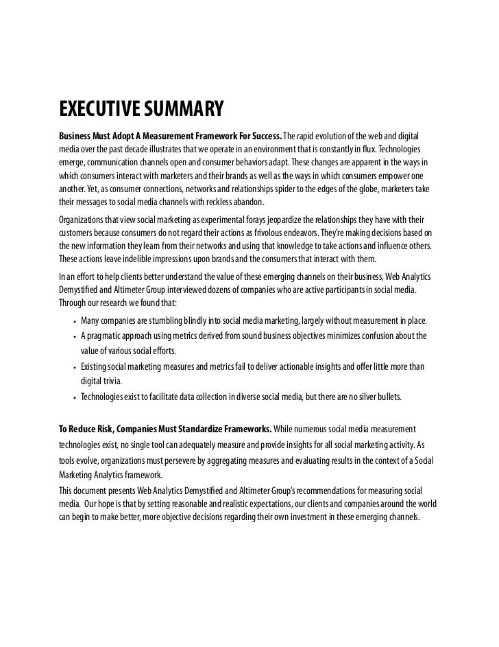 EXECUTIVE SUMMARY Business Must Adopt A Measurement Framework For Success. The rapid evolution of the web and digital medi...