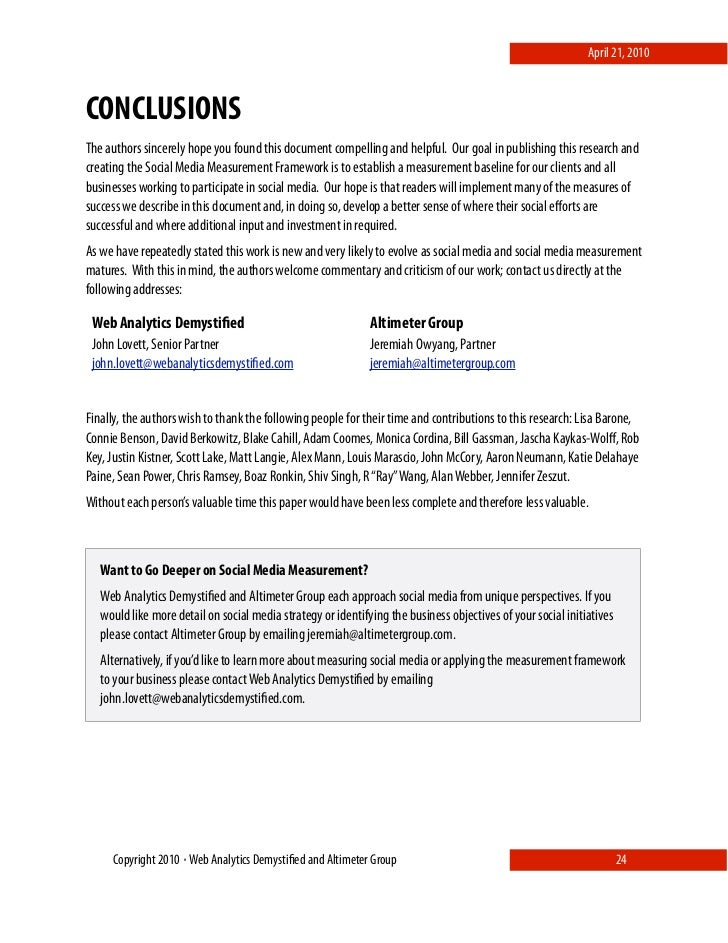 April 21, 2010    CONCLUSIONS The authors sincerely hope you found this document compelling and helpful. Our goal in publi...