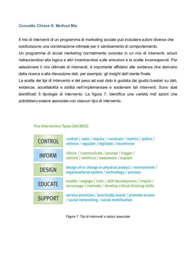 Concetto Chiave 6: Method Mix Il mix di interventi di un programma di marketing sociale può includere azioni diverse che c...